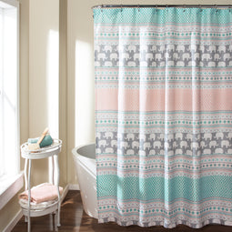 Elephant Stripe Shower Curtain Turquoise/Pink