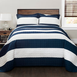 New Berlin Stripe Quilt Navy/White Set