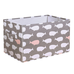 Whale Fabric Covered Collapsible Box Pink 3Pc Set 15x13x13