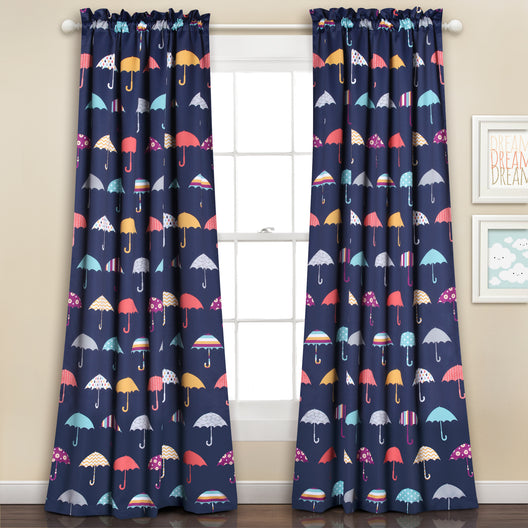Umbrella Room Darkening Window Curtain Navy Set