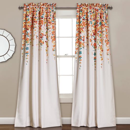 Weeping Flowers Room Darkening Window Curtain Set