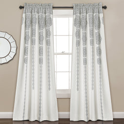 Stripe Medallion Room Darkening Window Curtain