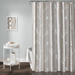 Bird On The Tree Shower Curtain Gray & Blue