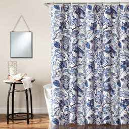 Cynthia Jacobean Shower Curtain Blue