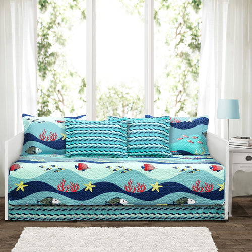 Sealife Blue 6Pc Daybed Cover Set 39x75