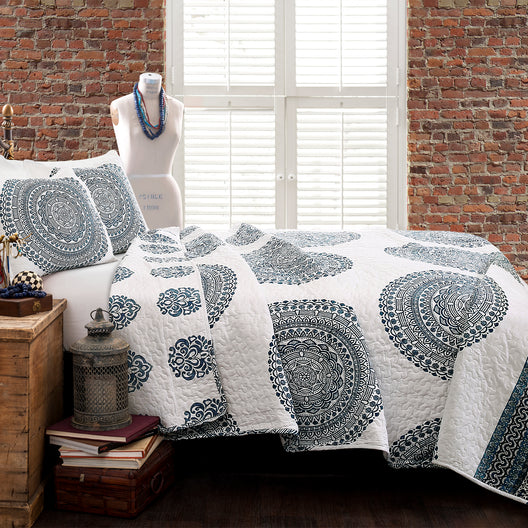 Shaila Medallion Quilt Blue 3Pc Set