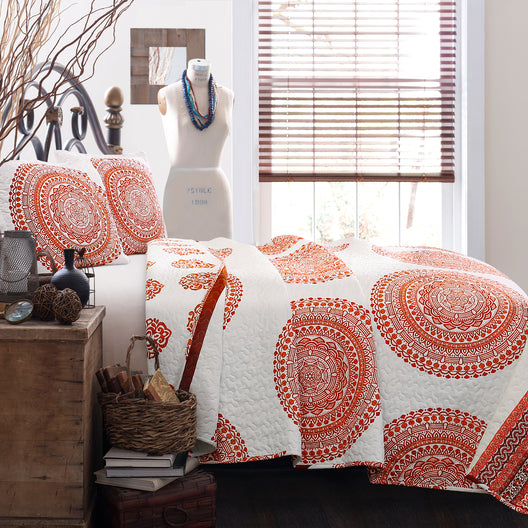Shaila Medallion Quilt Tangerine 3Pc Set Full/Queen