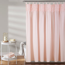 Lydia Ruffle Shower Curtain Blush