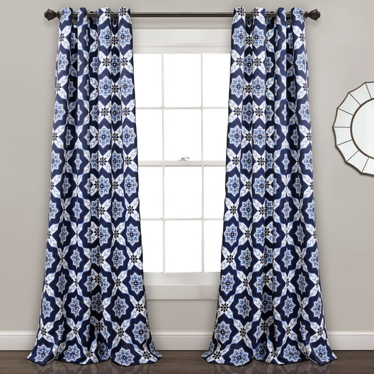 Venus Medallion Room Darkening Window Curtain Panels