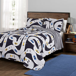 Car Tracks Quilt Navy 2Pc Set