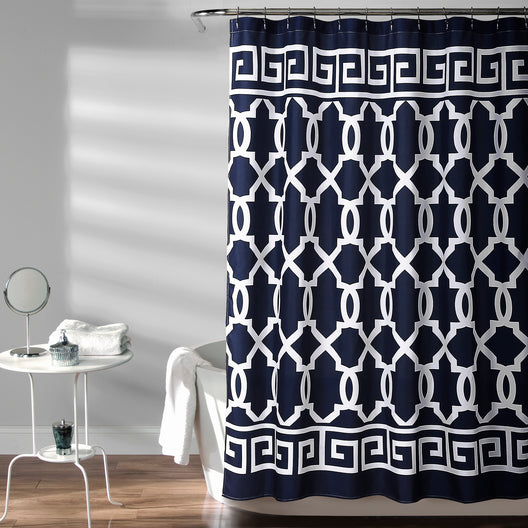 Maze Border Shower Curtain Navy