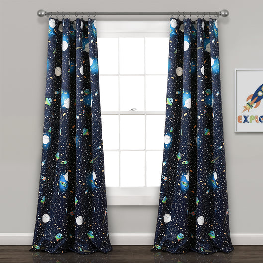 Universe Room Darkening Window Curtain Panels Navy Set