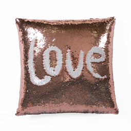 Mermaid Sequins Decorative Pillow Blush/White Single 16x16