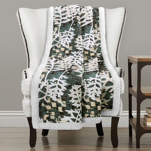 Camouflage Leaves Sherpa Throw Green