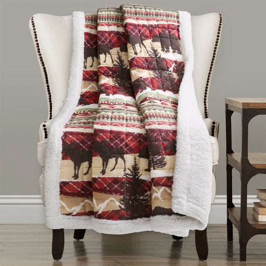 Holiday Lodge Sherpa Throw Red/Brown