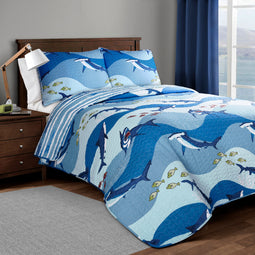 Shark Allover Quilt Blue