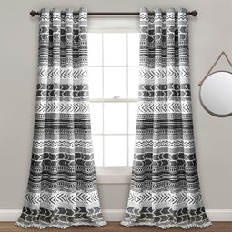 Hygge Geo Room Darkening Window Curtain Panels