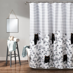 Stripe Bear Shower Curtain Gray/Black