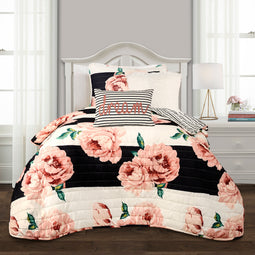 Amara Floral Quilt Black & Dusty Rose 4Pc Set In Twin XL