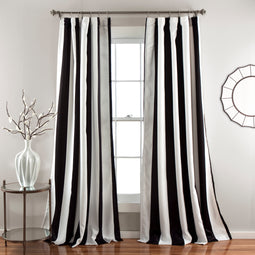 Wilbur Stripe  Room Darkening Window Curtain Panels Set