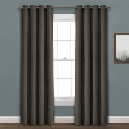 Faux Linen Absolute Grommet Blackout Window Curtain Panel