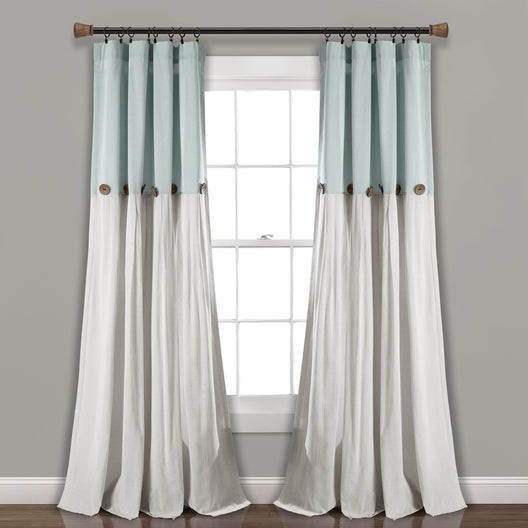 Linen Button Window Curtain Panels Single