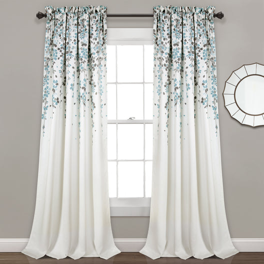 Weeping Flower Room Darkening Window Curtain Panels Set