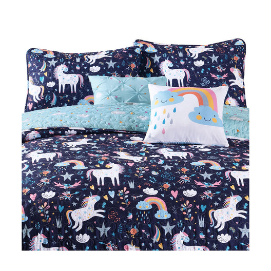 Unicorn Heart Quilt Navy/Multi Set