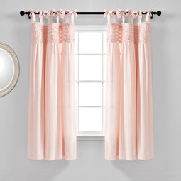 Lydia Ruffle Window Curtain Panels Blush Set