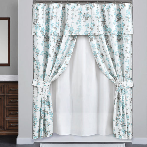 Weeping Flora Double Swag Shower Curtain Blue/Gray with Peva Lining&Rings 16Pcs Complete Set