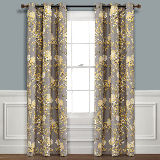 Farmhouse Bird And Flower Insulated Grommet Blackout Window Curtain Panels
