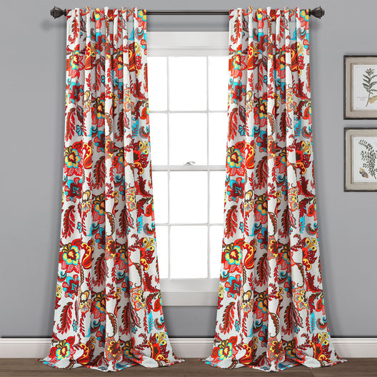 Zara Jacobean Room Darkening Window Curtain Panels Set