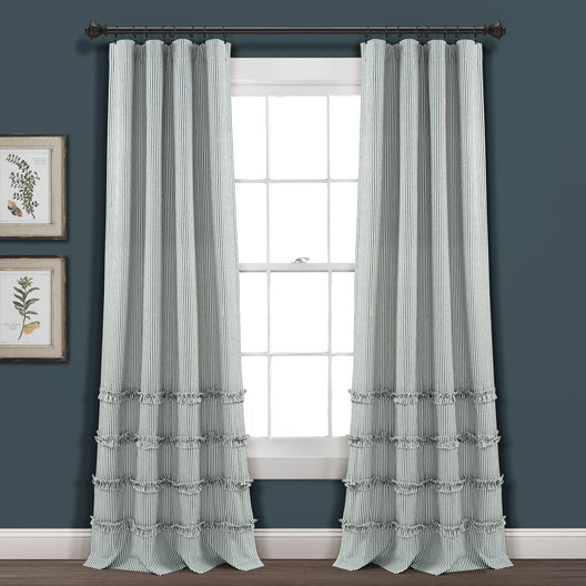 Vintage Stripe Yarn Dyed Cotton Window Curtain Panels Set