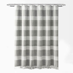 Tucker Stripe Yarn Dyed Cotton Knotted Tassel Shower Curtain Single