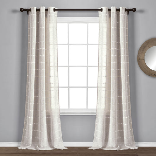 Farmhouse Textured Grommet Sheer Window Curtain Panels