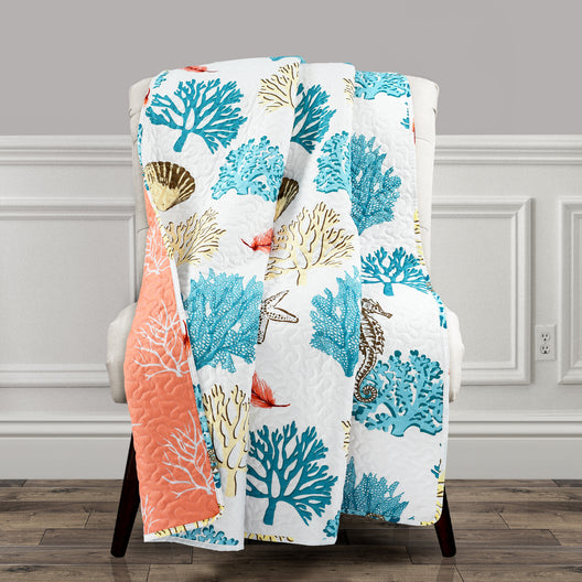 Coastal Reef Feather Throw Blue & Coral Single