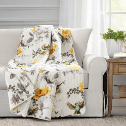 Penrose Floral Throw Yellow/Gray Single