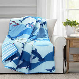 Shark Allover Throw Blue Single
