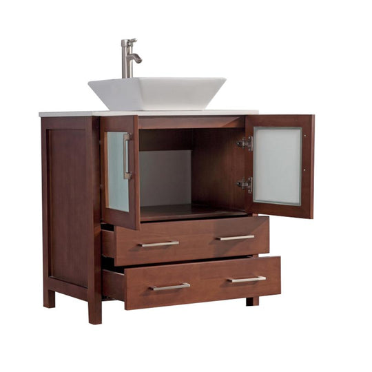 "30"" Cherry Solid Wood Sink Vanity With Mirror 