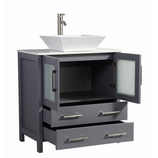 "30"" Dark Grey Solid Wood Sink Vanity With Mirror 