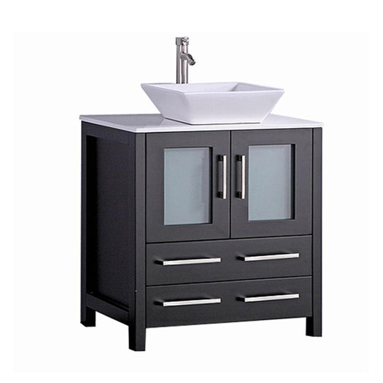 "30"" Espresso Solid Wood Sink Vanity With Mirror 