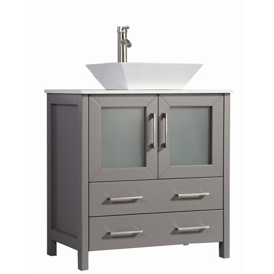 "30"" Light Grey Solid Wood Sink Vanity With Mirror 