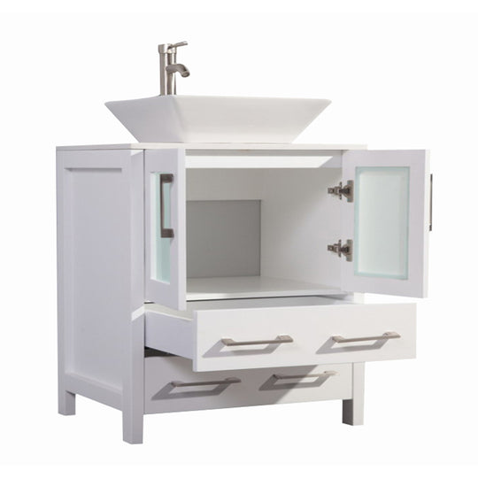 "30"" White Solid Wood Sink Vanity With Mirror 