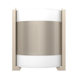 2-Light LED Wall Sconce W/ 2 USB, 2 Switch, 1 Outlet - UL Listed, Brushed Nickel Finish W/ White Glass shade