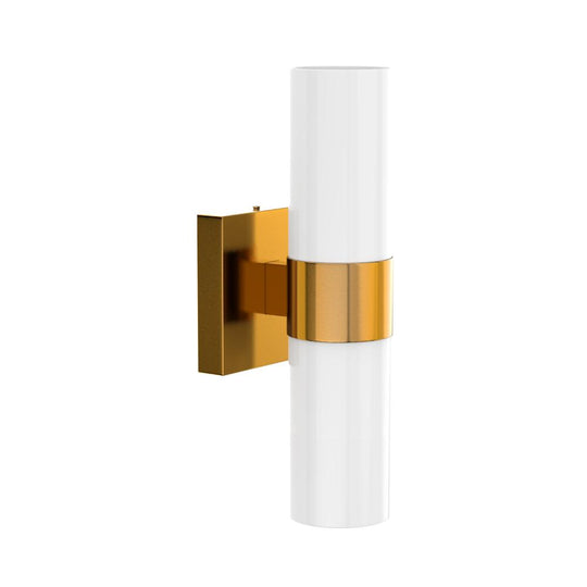 2 Lights-LED Wall Sconce W/ Frosted Glass Shade - E26 Base - UL Listed, Brushed Brass Finish