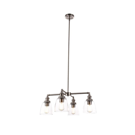 4-Lights Chandelier Lighting Fixture, Clear Glass Chandelier for Kitchen, Coffee Bar, E26 Base