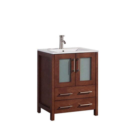 "24"" Cherry Solid Wood Sink Vanity With Mirror 