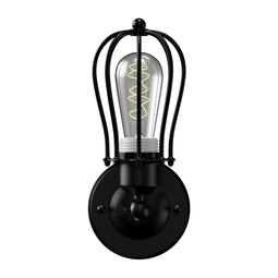 Steel Birdcage Wall Lighting Fixture, Matte Black Finish, E26 Base, UL Listed, 3 Years Warranty