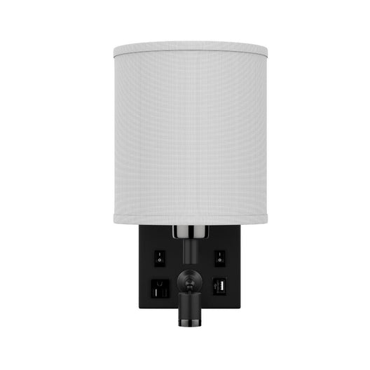 1-Light LED Wall Sconce With 1 USB, 2 Switch, 1 Outlet - Black Metal Finish W/ White Fabric Shade