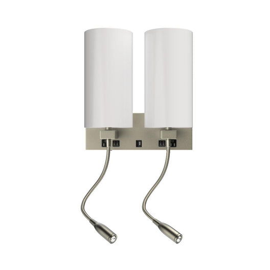 2-Light LED Acrylic Wall Sconce With 2 USB, 2 Switch, 1 Outlet - UL Listed, Brushed Nickel Finish